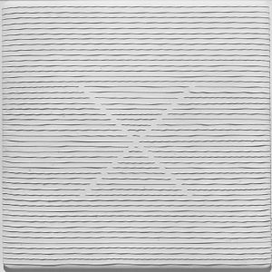 Walter Leblanc, Twisted strings cr 375, 1961, Cotton strings and white latex on cotton canvas, 60 x 60 cm