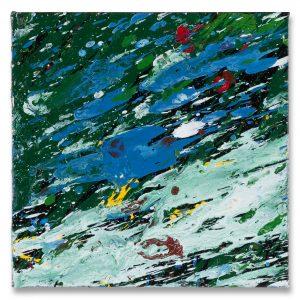 Shozo Shimamoto, Untitled, 2009, Oil on canvas, 20x 20 cm